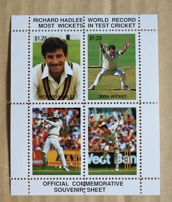 Official Souvenir Sheet Richard Hadley Most Wickets In Cricket Cinderella Stamps