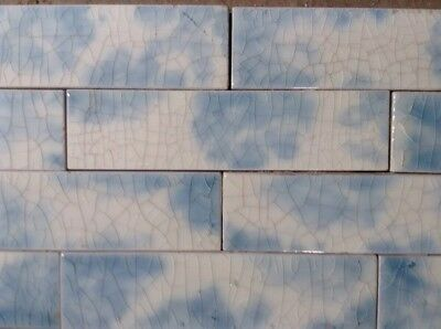 COMPLETE SET VINTAGE VICTORIAN ANTIQUE FIREPLACE TILE MANTLE SURROUND Sky Blue