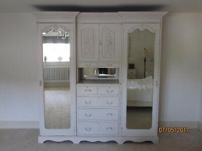 Antique French Shabby Chic Style Wardrobe. Solid Wood.