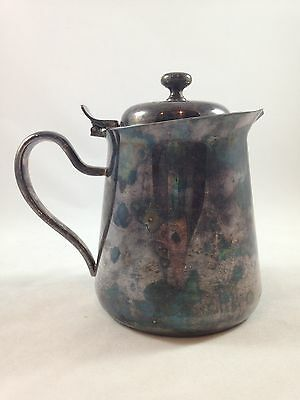 """Silver Plate Creamer Pitcher With Hinged Lid DJ EPNS Japan 6 1/4"""" Tall Heavy"""
