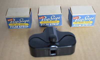 Small Kay England Peep Scope Viewer With 3 Boxed Original Films