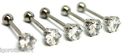 """5X Lot Round 6Mm Cz Clear Gem Top Barbell Tongue Ring Ear Piercing Bar 14G 5/8"""""""