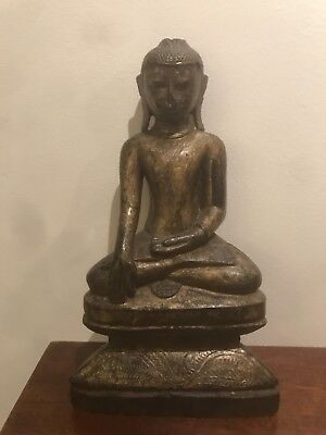Antique Wooden Burmese Gilt-Lacquered Seated Buddha