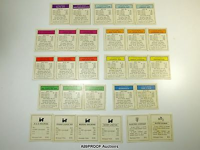 Lot of Vintage Classic MONOPOLY Game Pieces Property Cards Title Deeds Set of 28