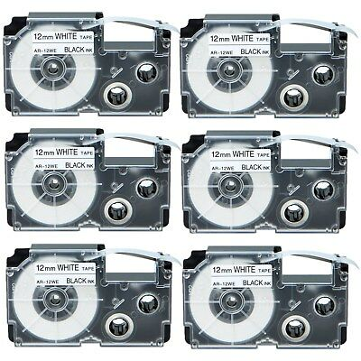 6PK Compatible Casio XR-12WE Black on White Label Tape for EZ KL-2000 12mm 1/2""