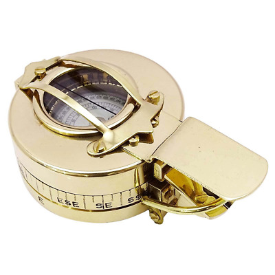 Brass Nautical Pocket Compass Magnetic Navigation Chain Sundial Maritime Hiking