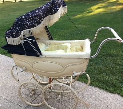 Vtg Antique Silver Cross Baby Carriage Buggy Stroller Ivory & Blue W Accessories
