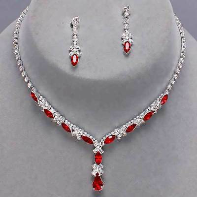 Red jewellery set diamante rhinestone sparkly prom party bridal necklace 518