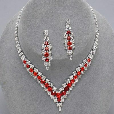 Red diamante necklace set prom bridal party sparkly rhinestone evening bling 346