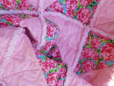 """Baby Girl  Toddler Child : Rag Quilt: """"Rosey Star"""" 40"""" x 40""""  Cottage Chic"""