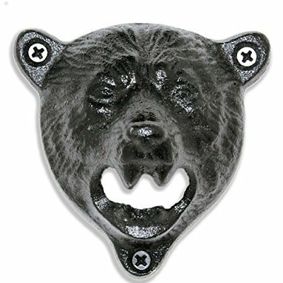 Bottle Cap Opener Grizzly Bear Wall Mount Durable Cast Iron Vintage Organizer