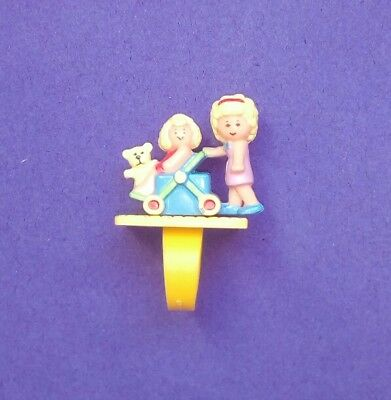 Vintage 1990 Polly Pocket~Polly's Pram and Baby Ring~ EUC
