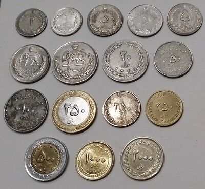 16 different coins all from the same Middle East country 2 Rials to 2,000 Rials