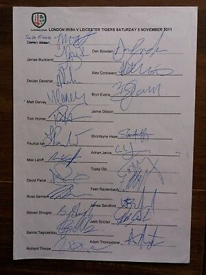 Signed London Irish Rugby Teamsheet