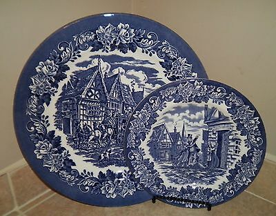 "2 English Ironstone EIT Blue Willow Plates 11"" DINNER & 8"" SALAD"
