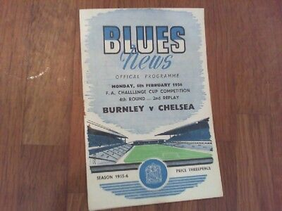 Burnley V Chelsea FA Cup 4th Round 2nd Replay Programme St Andrews RARE VG