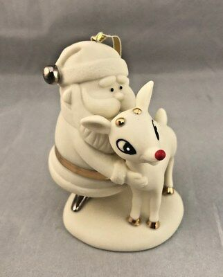 Dept 56 RUDOLPH the Red Nosed Reindeer & Santa Christmas Ornament White Bisque