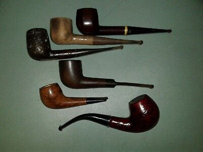 Lot of 6 Vintage Tobacco Estate Pipes, Nice Mix