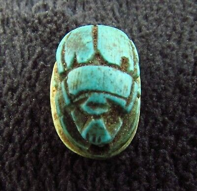 ANCIENT AMULET  EGYPTIAN FAIENCE SCARAB BEETLE - HIEROGLYPHS  c. 1500 BC (808+)