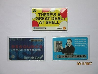 Mercurycard British Gas + Shell Oil + Harry Enfield -New & Sealed Phonecards x 3