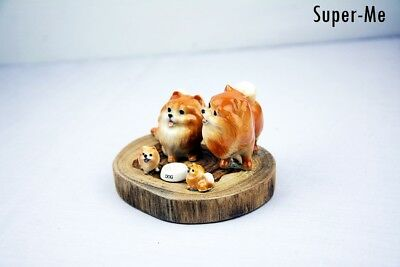 Brown Pomeranian Puppies Dog Family Vintage Porcelain Figurines With Wood Base