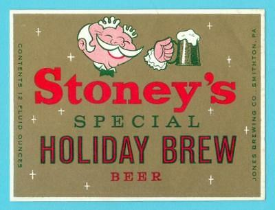 Smithton, PA - Stoney's Holiday Brew Beer 12oz label #8 - NOS (New Old Stock)