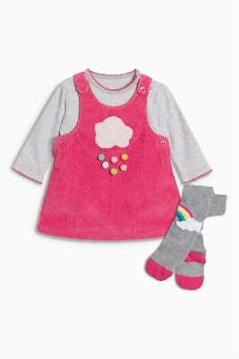 Next 3 Pc Pink Cord Cloud Pinafore, Bodysuit & Rainbow Tights  6 ~ 9 Mths Bnwt