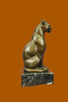 Big Cat Panther Leopard Cougar Marble Base Art Bronze Sculpture Figurine Statue