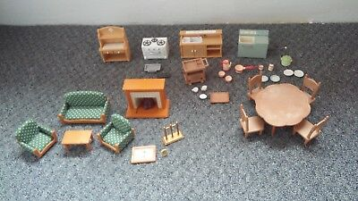 Sylvanian Families Furniture Bundle Living Room Dining Table Kitchen Accessories