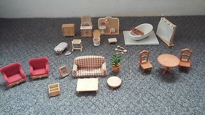 Sylvanian Families Furniture Bundle Living Room Table Chairs Bathroom Toilet