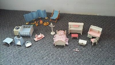 Sylvanian Families Furniture Bundle Girls Bedroom, Babies Cot and Beach Set