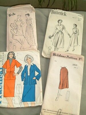 """4 Vintage sewing patterns - 50's/60's/70's, used, 36"""" bust"""