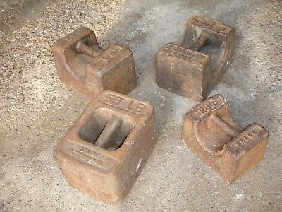 Set of antique mill weights - 3 x56lbs and 1x 28 lbs