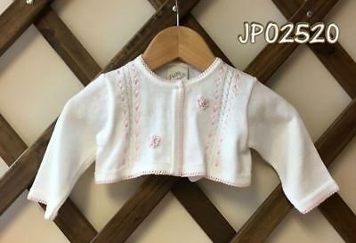Pretty Original Baby Girls Bolero Cardigan White/Pink 6m to 4 years Style JP0252