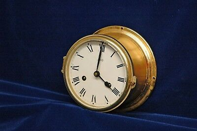 Schatz Brass Marine Bell Clock Vintage - Clock works, chimes do not work, no key