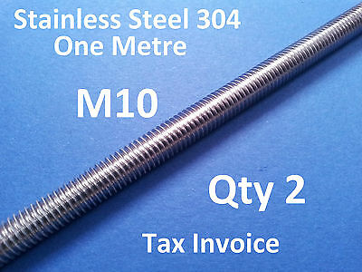 2 X STAINLESS STEEL ALLTHREAD M10 304ss ONE METRE 1000mm x 10mm THREADED ROD BAR