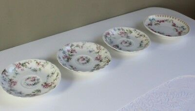 4 Antique Haviland Limoges  Porcelain Demitasse Saucers Pink Roses Blue Bows