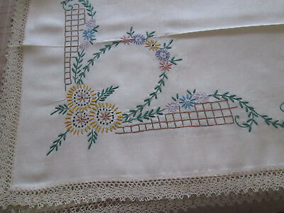 "hand embroidered vintage cream linen tablecloth. 38""x38""..unused"