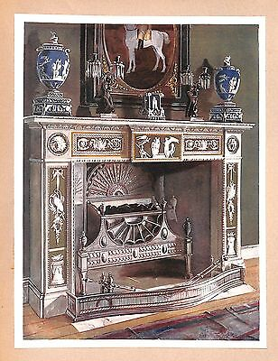 Furniture print.1910.Wedgewood-Flaxman Chimney-piece.Interior design.Edwin Foley