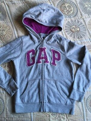 Gap Kids Girls 12-13 Years Zipped Hoodie Grey Purple Sequins