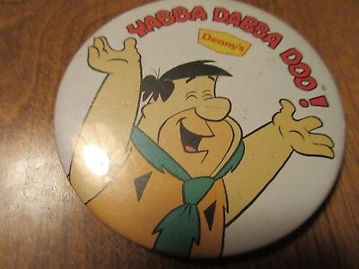Vintage 3 inch FRED FLINTSTONE YABBA DABBA DOO Denny's pinback button pin