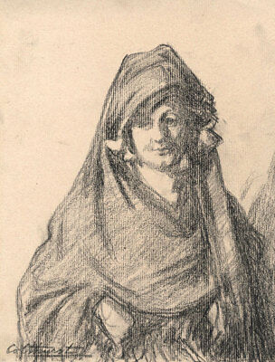 Francis Edward Colthurst - Early 20th Century Charcoal Drawing, Spanish Girl
