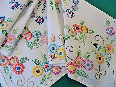 Stunning Hand Embroidered Tablecloth,Masses of Daisies,French Knot Centres VGC