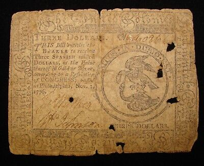 *decent 1776 Threet Dollars Spanish Milled Colonial Currency*