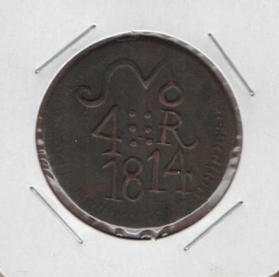 Mexico 4 Four Reales 1814 Legend Oxa, General Morelos, Extremely Scarce & Rare.