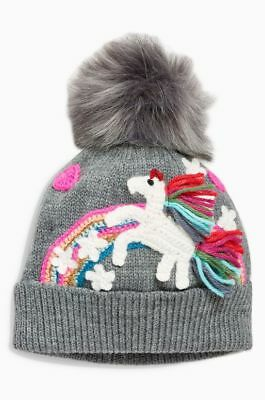 Next Charcoal Unicorn Embroidered Beanie Hat Age 3  ~ 4 Yrs Bnwt