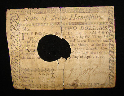 *decent 1780 Two Dollars State Of New Hampshire Colonial Currency*