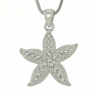 "W Swarovski Crystal Starfish Ocean Sea Beach Nautical Pendant Necklace 18"" Chain"