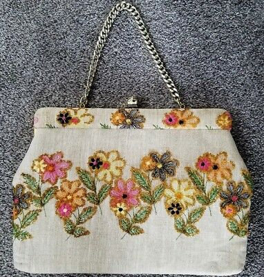 Vintage FAYE MELL DESIGN Purse with Embroidered Floral Beaded Design~Excellent!