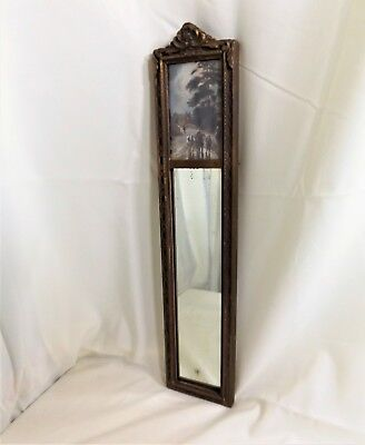 Antique Tall Thin Framed Mirror w/ Small Country Print, Wood Gesso Compo, 25 X 5